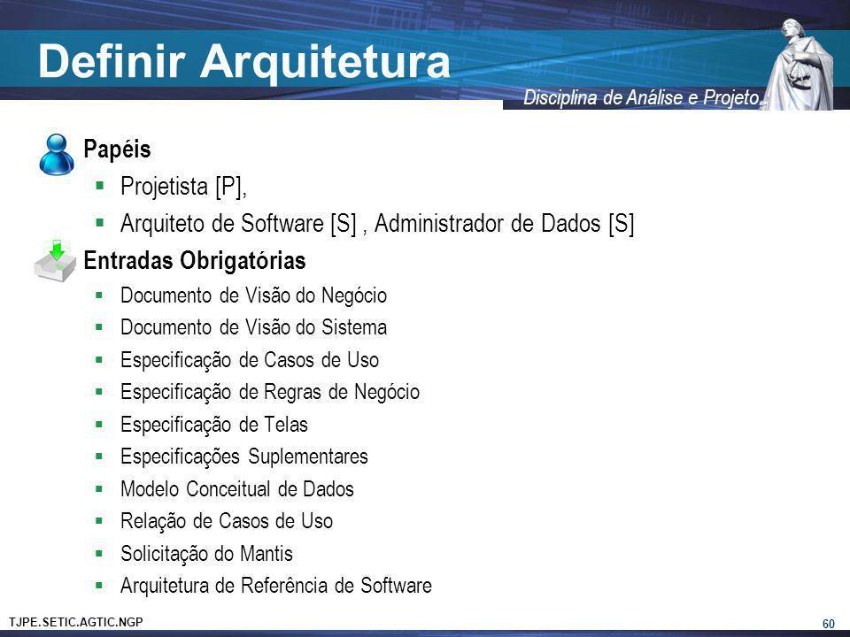 Definir Arquitetura Papéis Projetista [P],